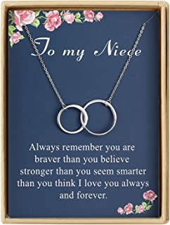 Birthday Gifts for Niece Delicate Two Interlocking Infinity Double Circles Sterling Silver My Niece Necklace for Women