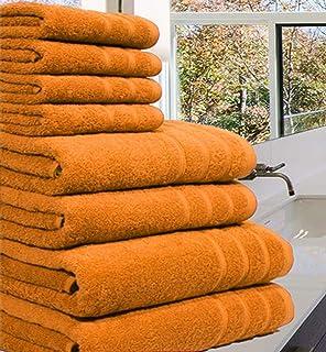 Luxueuse Serviette Bale- 100 % coton égyptien -8pièces - 550g / m² - Tailles extra-larges, Coton, Orange, 8 Pieces Set