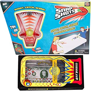 Shoot Score Catch Play Cosmic Pinball Money Bill Game Bundled with Snap Shots Hockey Game 2 Items