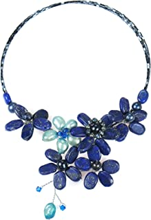 AeraVida Floral Lace Simulated Lapis-Lazuli and Cultured Freshwater Pearls Crystal Wrap Necklace