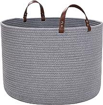 XXL Cotton Rope Basket,Storage Woven Baskets for Blankets,Laundry, Towel,Nursery Basket by Braided Crown (XXL Light Grey)
