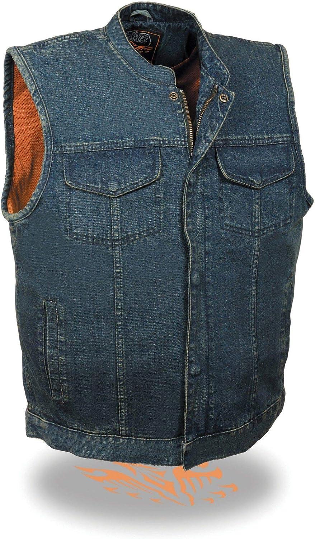 Milwaukee Leather Men's Concealed Snap Denim Club Style Vest
