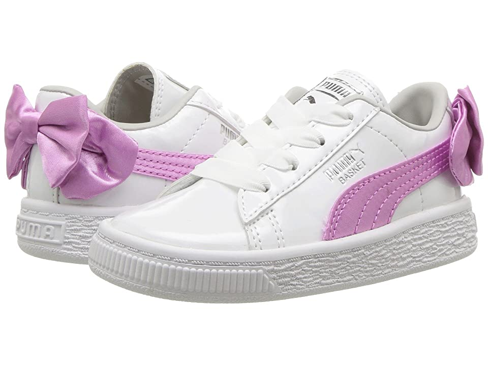Puma Kids Basket Bow Patent AC (Toddler) (Puma White/Orchid/Gray/Violet) Girl