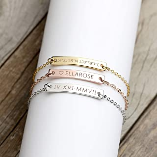 9bb173592 A Same Day Shipping Before 3 pm Custom Engraved Bracelet Personalized  Jewelry Bridesmaid Bracelet Custom Roman