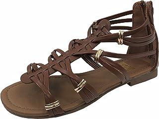 518cda36d832e Girls Kids Gladiator Strappy Summer Sandals