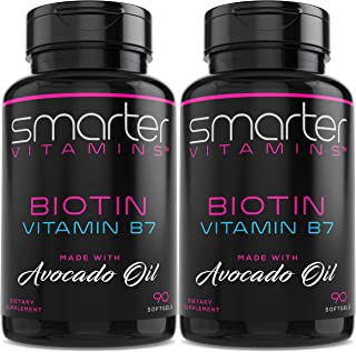 (2 Pack) Smarter Biotin 5000mcg in Avocado Oil, Vitamin B7, Hair, Skin & Nail Support, Non-GMO, 90 Mini Liquid Softgels, N...