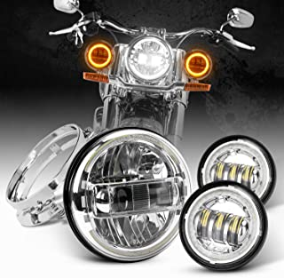 Dot Approved Chrome 7inch LED Headlight with DRL + 4.5inch Matching LED Passing Lamps with White/Yellow Halo Rings for Harley Motorcycles with Adapter Ring and wire adapter