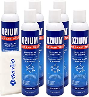 Ozium Air Sanitizer Spray - Glycolized Air Freshener Reduces Airborne Bacteria Eliminates Smoke & Malodors 8oz Spray Air Freshener, Original (6 Pack)