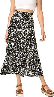 Women's Polka Dot A-Line Button Side Split Midi Knee Length Skirt