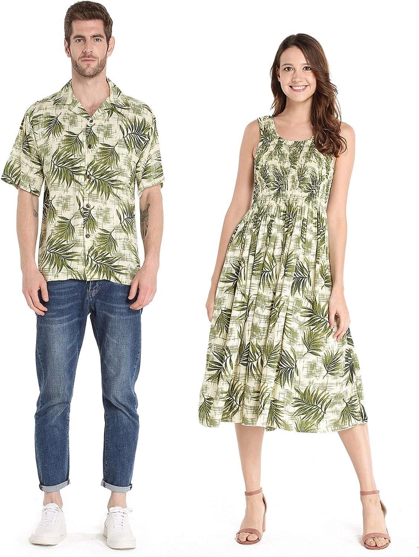 Couple Matching Hawaiian Luau Aloha Shirt Elastic Tank Dress in Leaves