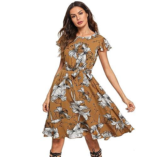 1163b34839ce Floerns Women s Floral Print Ruffle Tie Waist Summer Chiffon Dress
