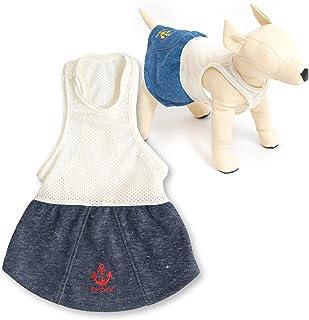 犬猫の服 full of vigor メッシュインナー付いかり刺繍デニムニットスカート ダックス用 カラー 5 ネイビー サイズ DMつなぎ オールインワン 重ね着 フルオブビガー