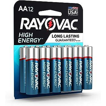 RAYOVAC AA 12-Pack HIGH ENERGY Alkaline Batteries, 815-12K