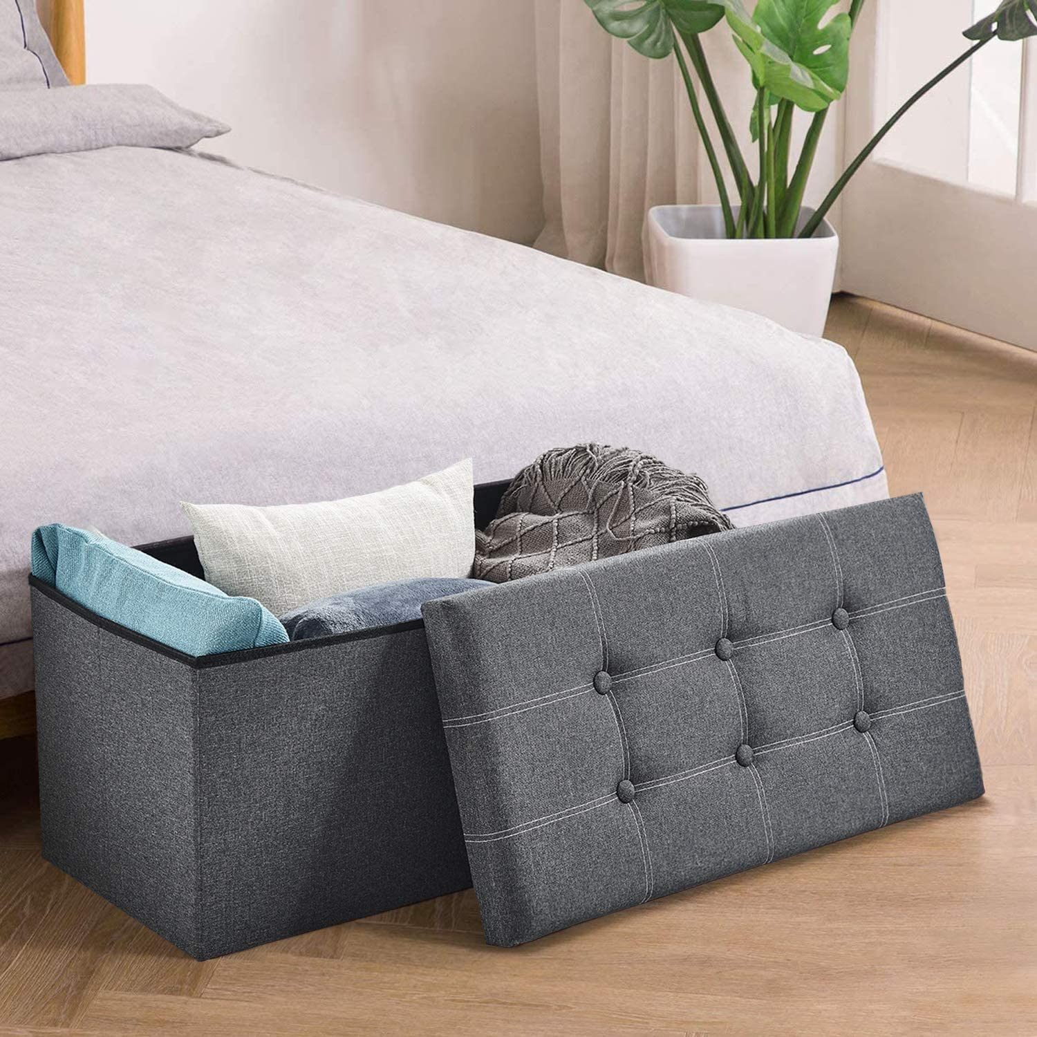 HOMBYS 30 inches Storage Ottoman Bench,Folding Storage Ottoman,Bench with 80L Storage Space,Support 350lbs,End of Bed Storage Seat, Linen Fabric Grey