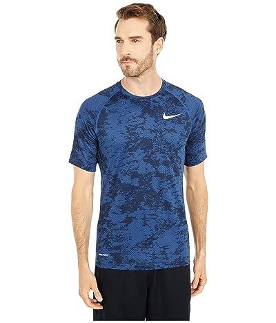 Nike Pro Top Short Sleeve Slim All Over Print (Mystic Navy/White) Men