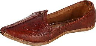 Krafto Men's Imprinted Maroon Leather Jodhpuri Mojaris
