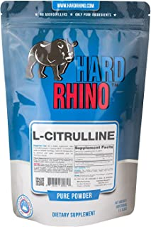 Hard Rhino L-Citrulline Powder, 500 Grams (1.1 Lbs), Unflavored, Lab-Tested, Scoop Included