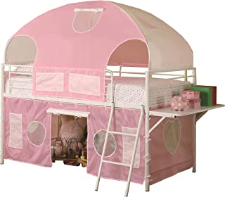 Coaster Home Furnishings Sweetheart Tent Loft Bed, Pink/White