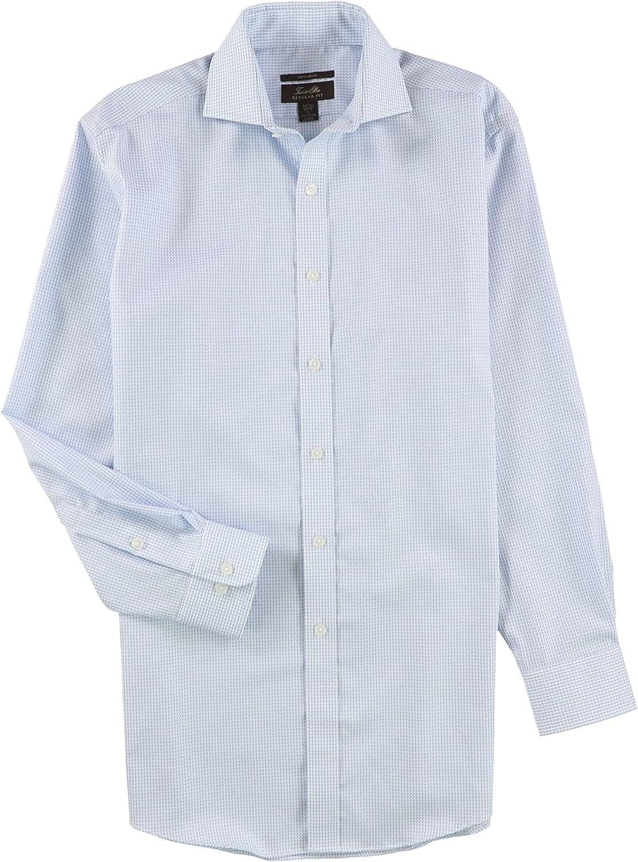 Tasso Elba Mens Houndsooth Button Up Dress Shirt blwhlghndsth 17.5