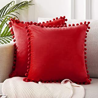 Top Finel Square Decorative Throw Pillow Covers Soft Solid Velvet Outdoor Cushion Covers 18 X 18 with Pom-poms for Sofa Bed, Set of 2, Red