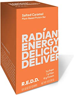 REDD - Salted Caramel - Plant Based Protein Bar (1.8oz - 6-pack) - Gluten Free, Vegan, Low Sugar, High Fiber, Probiotics, Healthy On-The-Go Snack for Kids & Adults