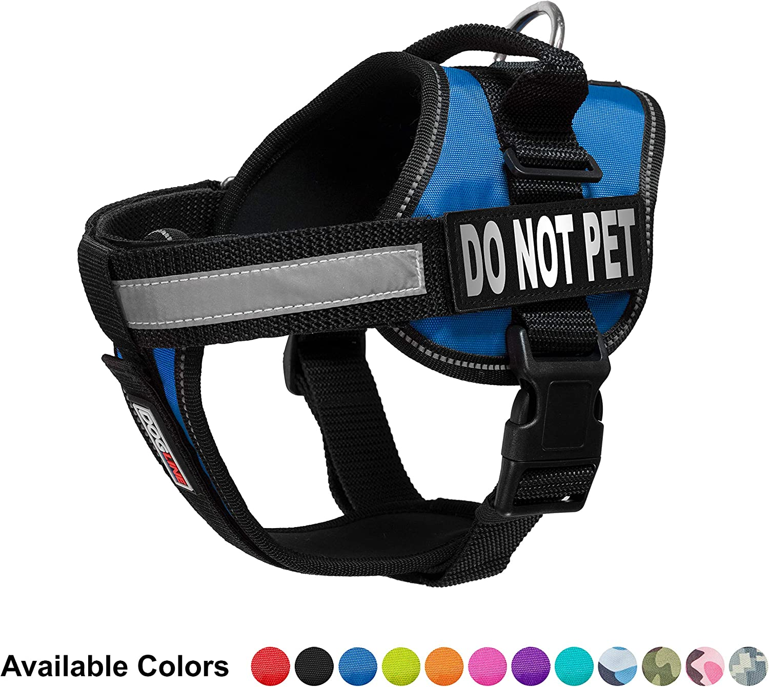 Dogline Vest Harness for Dogs and 2 Removable Do Not Pet Patches, Medium 22 to 30 , bluee
