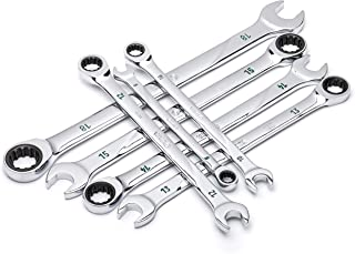 SATA 7-Piece Metric 120 Position Combination Ratcheting Wrench Set with Universal Spline Drive and 120 Opening Positions, 8mm to 18mm - ST08043U