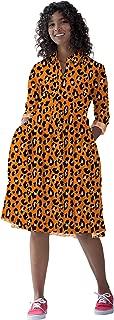 RADANYA Womens Cotton Casual Swing Dress Tiger Printed Long Sleeve Midi Dress