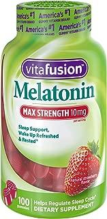 Vitafusion Max Strength Melatonin 10mg, Adult Gummy Vitamins, 100Count, Red, Max Strength (10mg Per Serving)