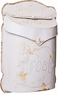 Farmhouse Rustic Style White Post Mailbox Wall Mounted Design - 15 h x 11 w Inches