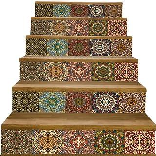 yazi Peel and Stick Tile Backsplash Stair Decals Brick Pattern Stair Riser Refurbished Stair Treads Decals 7``W x 39``L Arabic Style Wallpaper (Set of 6) (Arabic Style Tile)