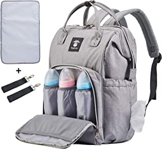 Extra Large Diaper Bag Backpacks, Wide Opening Baby Diaper Bags for Mom Dad, FRANK MULLY Men Diaper Bag with Changing Pad Stroller Straps Insulated Pockets Gray, Perfect Baby Shower Gift