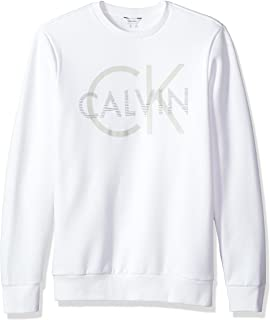 Calvin Klein 男式长袖印花 LOGO 圆领套头运动衫