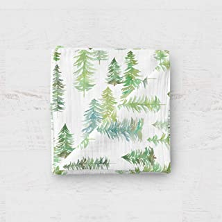 Sugar House Shop Premium 100% Imported Cotton, Thick and Durable Muslin Fabric Swaddle Blanket, for Infants and Toddlers, 47in x 47in, 8oz, Pine Trees