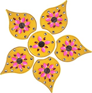 RUCI STORE Diwali Acrylic Rangoli Floor Decorations Acrylic Leaf Design with Studded Stones and Sequins, Traditional Festive Home Décor Medium Size (Yellow)