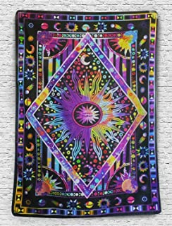 Tie Dye Purple Burning Sun Tapestry Psychedelic Celestial Sun Moon Planet Bohemian Tapestry Wall Hanging Mandala Boho Hippie Tapestry
