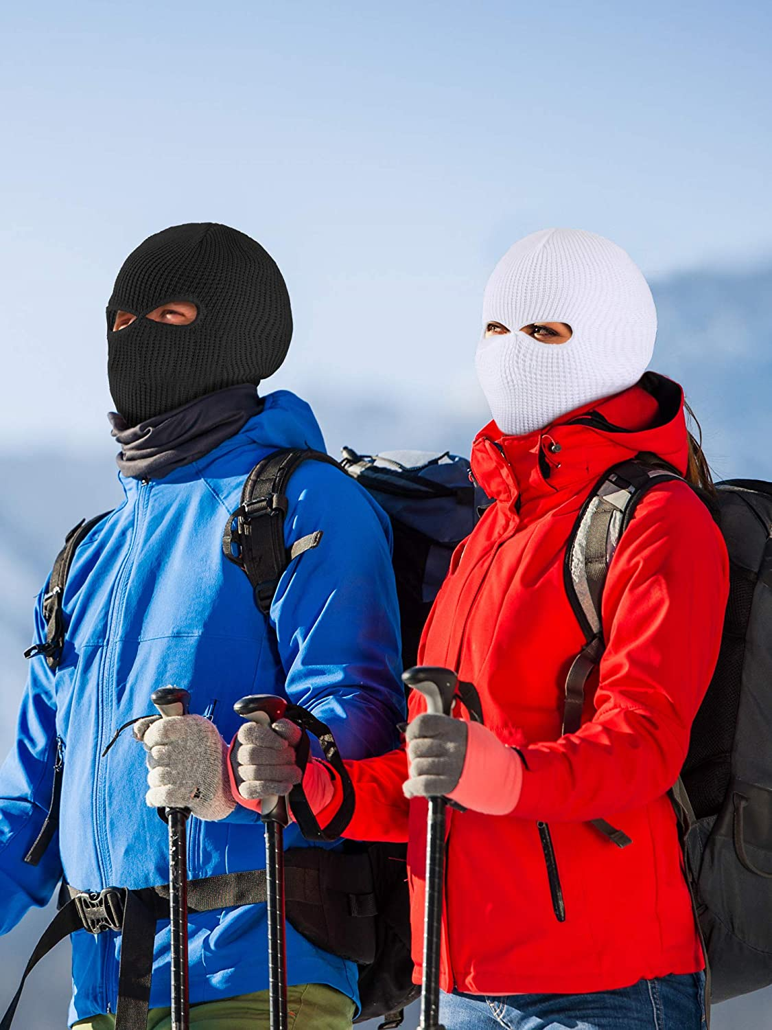 WILLBOND 2 Pieces Knitted Full Face Cover 2-Hole Winter Ski Balaclava Face Covering for Adult Supplies