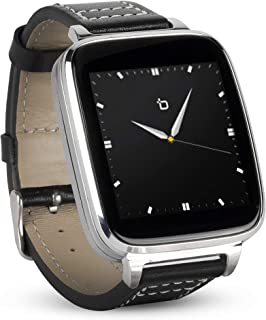 Beantech Full Function Smart Watch for Apple/Android Devices. Classical Elegance with Communications, Fitness, Music & Camera Control. Silver with Black Calfskin Leather Strap