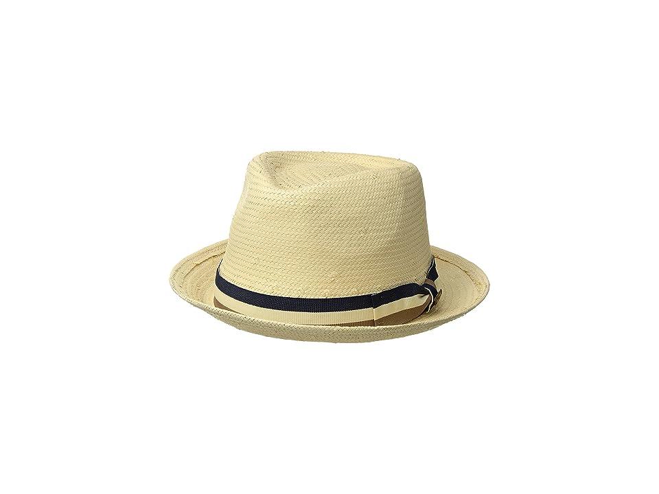 San Diego Hat Company Toyo Fedora w/ Stripe Bow (Natural) Caps