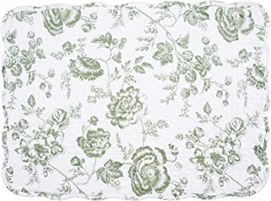 C&F Home Kennedy Placemat Set of 6 Green White Cream Floral Place Table Mats Rectangular Quilted Reversible Washable Placemat Rectangular Placemat Green