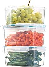 Komax Biokips Large Food Storage Container 81oz. (set of 3) - Airtight, Leakproof With Locking Lids - BPA Free Plastic - M...