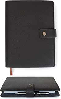Black Full Grain Premium Leather Refillable Journal Cover with A5 Lined Notebook - Scratch-Proof DURA-Leather by Case Elegance