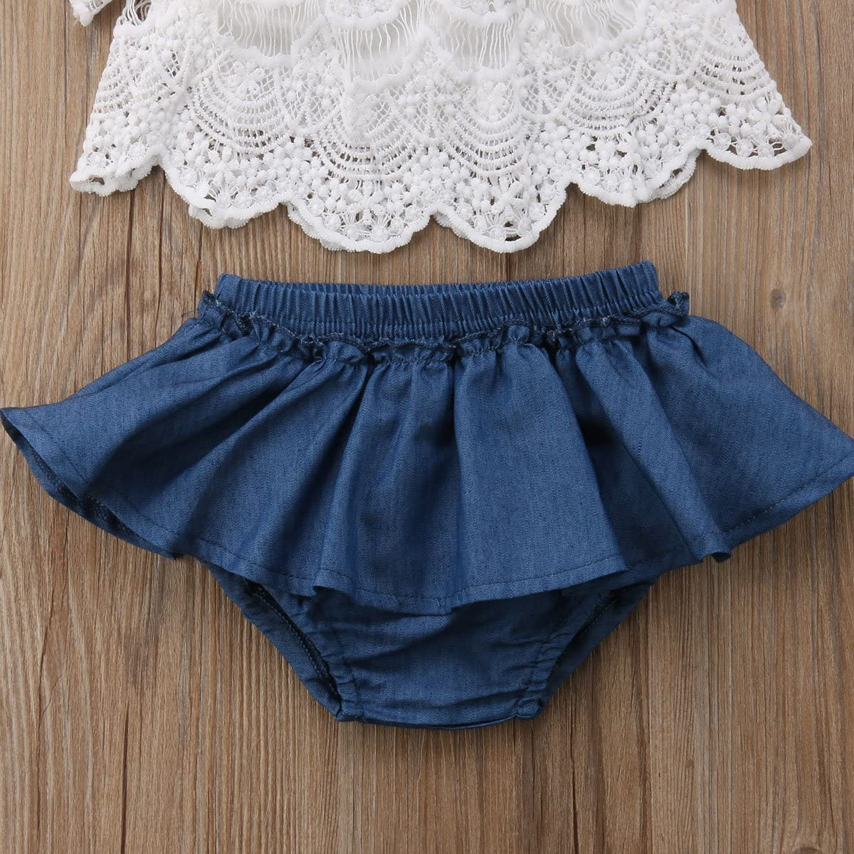 Newborn Toddler Girls Skirt Short Sets White Lace Flying Sleeve Shirt Tops Short Pants Tutu Skirt Summer Clothes