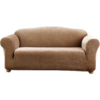 SureFit Stretch Madison Stripe One Piece Brown Sofa Slipcover Sure Fit SF44586