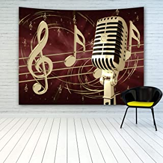 MINAKO Microphone Music Notes Tapestry Wall Hanging, Vintage Retro Decor Golden Microphone With Music Notes Background Tapestry Wall Art Tapestries For Home Bedroom Living Room College Dorm Decoration