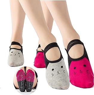 JasmyGirls, Calcetines de yoga para mujer antideslizantes sin dedos antideslizantes y con correas para pilates, ballet puro, barro, baile, entrenamiento descalzo,