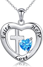 925 Sterling Silver God in My Heart Faith Hope Love Cross Pendant Necklace for Women Girlfriend Daughter