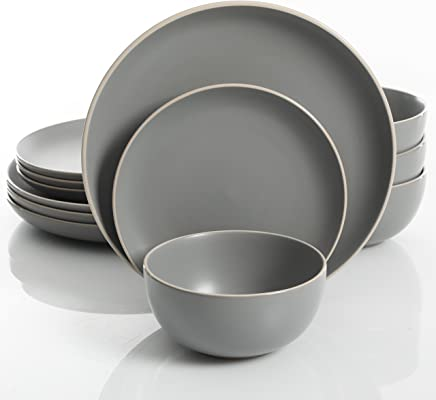 2921706ce36a Gibson Home Rockaway 12-Piece Dinnerware Set Service for 4, Grey Matte
