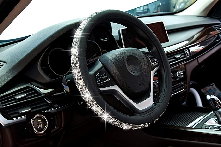 New Crystal steering wheel cover, PU leather Bling Bling Rhinestone, Black Universal 15-inch Protector for Female Girls. (Bing Black White)