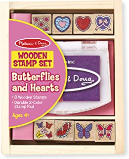 Melissa & Doug Butterfly and Heart Wooden Stamp Set (8 Stamps and 2-Color Stamp Pad, Great Gift for Girls and Boys - Best for 4, 5, 6 Year Olds and Up)